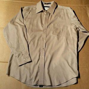 NWOT. Hilfiger Brown Cotton Shirt. 16.5  32-33
